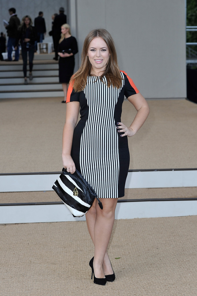 Tanya Burr arrives at Burberry Prorsum Womenswear Spring/Summer 2014 show during London Fashion Week at Kensington Gardens on September 16, 2013 in London, England.