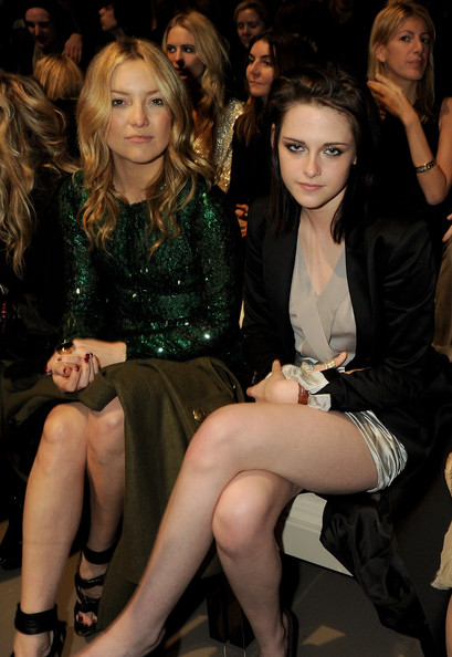 Kate Hudson and Kristen Stewart attends the Burberry Prorsum LFW Autumn/Winter 2010 Women?s wear show at the Parade Ground, Chelsea College of Art on February 23, 2010 in London, England.