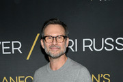 """Actor Christian Slater attends """"Burn This"""" Opening Night at Hudson Theatre on April 15, 2019 in New York City."""