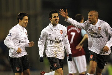 Cesc Fabregas Samir Nasri Burnley v Arsenal - Premier League