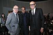 Ermenegildo Zegna (L),  Ermenegildo Zegna Group, Chief Executive, Marco Bizzarri (R),  Gucci, President & Chief Executive and guests attend the BoF China Summit during Shanghai Fashion Week at HKRI Taikoo Hui on October 15, 2018 in Shanghai, China.