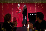 Lucy Yeomans (R) presents Natalia Vodianova with her Global VOICES 2017 Award at the gala dinner during #BoFVOICES on December 1, 2017 in Oxford, England.