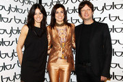 L-R  Sara Cavazza Facchini, Valeria Solarino, and Mathias Facchini attend the Byblos fashion show as part of Milan Fashion Week Womenswear Autumn/Winter 2011 on February 28, 2011 in Milan, Italy.