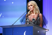 Paris Hilton speaks onstage during the CASA Of Los Angeles' 2018 Evening To Foster Dreams Galaat The Beverly Hilton Hotel on April 18, 2018 in Beverly Hills, California.