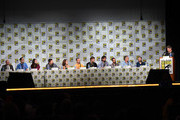 """(L-R) Science advisor David Saltzberg, writers Jeremy Howe, Tara Hernandez, Anthony Del Broccolo, Maria Ferrari, Steve Holland, Jim Reynolds, Eric Kaplan, and Dave Goetsch, actor Wil Wheaton, writer/producers Steven Molaro and Bill Prady attend the CBS """"The Big Bang Theory"""" panel at San Diego Convention Center on July 25, 2014 in San Diego, California."""