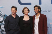 Actor Hugh Jackman, actress Sigourney Weaver and actor Dev Patel attend a fan event for the film 'CHAPPIE' at Mall of Berlin on February 27, 2015 in Berlin, Germany.