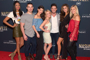 "Alisa Fuller, Kerry Degman, Rachyl Degman, Jessica Mack, Jackson Boyd, Alexandra Harper and Sarah Thomas of the show ""Music City"" attend CMT's ""Nashville"" In Concert Final Season Celebration at Grand Ole Opry House on March 25, 2018 in Nashville, Tennessee."