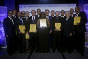 IAAF President Sebastian Coe and CONSULDATE President Robert Gesta De Melo pose for the group photo during the CONSULDATE Centenary Dinner and Show on July 27, 2018 in Buenos Aires, Argentina.