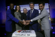 IAAF President Sebastian Coe, CONSULDATE President Robert Gesta De Melo, Robson Catenao da Silva of Brazil, Fabiana Murer of Brazil and Jefferson Perez of Peru during the CONSULDATE Centenary Dinner and Show on July 27, 2018 in Buenos Aires, Argentina.