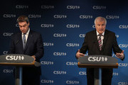 Horst Seehofer (R), Chairman of the Christian Social Union (CSU), and Markus Soeder, Governor of Bavaria and lead candidate of the CSU in yesterday's Bavarian state elections, speak to the media follwoing a meeting of the CSU leadership at party headquarters on October 15, 2018 in Munich, Germany. The CSU faired poorly in the election, winning 37.2% of the vote, 10.5 votes fewer than in the last election. The CSU has long been Bavaria's strongest party but will now face the arduous task of forming a state government coalition.