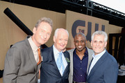 (L-R) Comedians Ryan Stiles, Colin Mochrie, Wayne Brady and Mark Pedowitz, President of The CW Television Network attend the CW, CBS and Showtime 2013 summer TCA party on July 29, 2013 in Los Angeles, California.