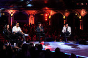 "(L-R) Singers/mentors Gloria Estefan, Nelly, Joe Jonas and John Rich appear onstage at a taping of The CW's ""The Next"" at the Orpheum Theatre on August 15, 2012 in Los Angeles, California."