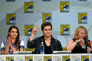 """(L-R) Actors Nina Dobrev,  Paul Wesley and writer/producer Julie Plec attend CW's """"The Vampire Diaries"""" panel during Comic-Con International 2014 at San Diego Convention Center on July 26, 2014 in San Diego, California."""