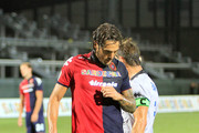 Joaquin Larrivey of Cagliari Calcio reacts after missing a penalty during the Serie A match between Cagliari Calcio v Atalanta BC at Stadio Sant'Elia on September 2, 2012 in Cagliari, Italy.