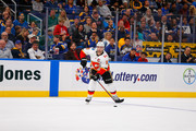Mark Giordano #5 of the Calgary Flames skates against the St. Louis Blues at the Enterprise Center on October 11, 2018 in St. Louis, Missouri.
