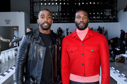 Tyrod Taylor (L) and Yahya Abdul-Mateen II attend the Calvin Luo front row during New York Fashion Week: The Shows at Gallery I at Spring Studios on February 13, 2019 in New York City.