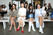 (L -R) Julia Restoin Roitfeld, Estelle Chen, Leaf Greener and Sita Abellan attend the Calvin Luo front Row during New York Fashion Week: The Shows at Gallery I at Spring Studios on September 12, 2018 in New York City.