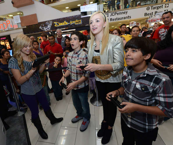 """Nintendo Teams Up With Disney Stars For """"How You Will Play Next"""" During The Wii U Showdown At The Westfield Culver City Mall [how you will play next,hit series,people,product,crowd,event,footwear,design,eyewear,jeans,fashion accessory,fan,peyton list,karan brar,cameron boyce,stars,westfield culver city mall,nintendo teams up with disney stars,wii u showdown,battle]"""