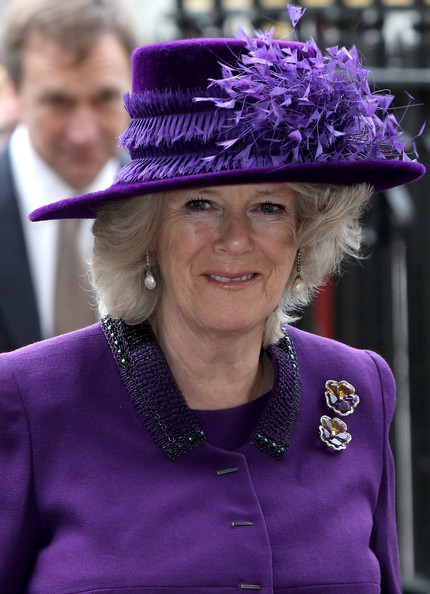 Commonwealth Day Observance Service Held At Westminster Abbey [purple,hat,headgear,fashion accessory,smile,costume hat,electric blue,camilla duchess of cornwall,westminster abbey,london,england,commonwealth day observance service,commonwealth observance service]