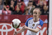 Becky Sauerbrunn #4 of the United States kicks the ball during an International Friendly soccer match against Canada at BC Place on November 9, 2017 in Vancouver, Canada.