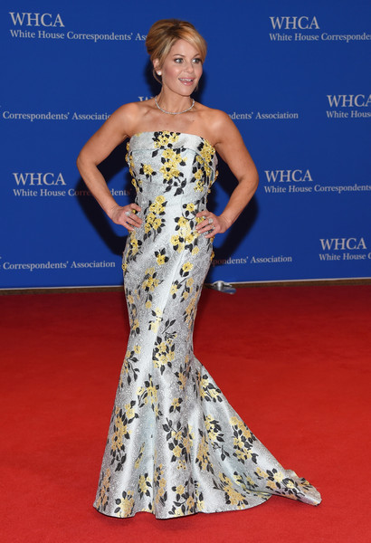 102nd White House Correspondents' Association Dinner - Arrivals [fashion model,dress,clothing,gown,red carpet,hair,shoulder,carpet,flooring,hairstyle,arrivals,candace cameron-bure,washington dc,white house correspondents association dinner]