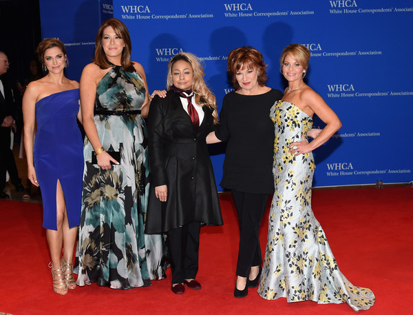 102nd White House Correspondents' Association Dinner - Arrivals [the view,red carpet,carpet,event,fashion,premiere,dress,flooring,gown,fashion model,fashion design,arrivals,cast,raven- symone,michelle collins,paula faris,candace cameron-bure,joy behar,l-r,white house correspondents association dinner]