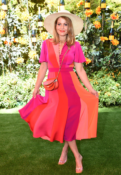 10th Annual Veuve Clicquot Polo Classic Los Angeles [clothing,pink,orange,dress,lady,fashion,yellow,magenta,peach,day dress,candace cameron-bure,los angeles,pacific palisades,california,will rogers state historic park,veuve clicquot polo classic]
