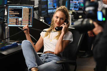 Candice Swanepoel Annual Charity Day Hosted By Cantor Fitzgerald, BGC, And GFI - Cantor Fitzgerald Office - Inside