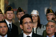 """House Majority Leader Eric Cantor (R-VA) speaks during a news conference held by House Republicans on """"Protecting America's Veterans"""" at the U.S. Capitol May 29, 2014 in Washington, DC. Rep. Jeff Miller (R-FL) and other leading Republicans have called for Secretary of Veterans Affairs Eric Shinseki to step down in the wake of an unfolding scandal relating to treatment of U.S. Veterans detailed in a recent investigative report."""