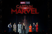 Gemma Chan (2nd L), Samuel L. Jackson (3rd L), Brie Larson (4th L), Anna Boden (5th L) and Ryan Fleck (6th L) attend the fan event for 'Captain Marvel' at Marina Bay Sands Expo and Convention Centre on February 14, 2019 in Singapore.