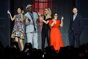 (L-R) Gemma Chan, Samuel L. Jackson , Brie Larson, Anna Boden and Ryan Fleck attends the fan event for 'Captain Marvel' at Marina Bay Sands Expo and Convention Centre on February 14, 2019 in Singapore.