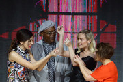 (L-R) Gemma Chan, Samuel L. Jackson , Brie Larson and Anna Boden attend the fan event for 'Captain Marvel' at Marina Bay Sands Expo and Convention Centre on February 14, 2019 in Singapore.