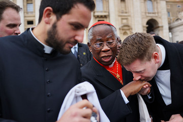 Cardinal Francis Arinze Cardinals Conduct Their Final Mass Before Entering Into The Conclave