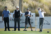 (L-R) John Rahm of Spain, Phil Mickelson and Tim Mickelson watch Ben Crane play his tee shot on the 18th hole during practice for the CareerBuilder Challenge at the Jack Nicklaus Tournament Course at PGA West on January 17, 2018 in La Quinta, California.