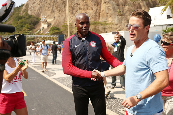 Billy Bush & Carl Lewis at the Speed-Walking Race for Ages