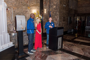 Carl Lewis Nastia Liukin Team USA Athletes Light the Empire State Building Red, White and Blue to Celebrate the 100 Day Countdown Rio 2016 Olympic Games