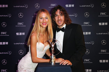 Carles Puyol Vanessa Lorenzo Red Carpet Studio - 2015 Laureus World Sports Awards - Shanghai