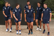 The Blues leadership group of Marc Murphy Ð captain, Sam Docherty Ð vice-captain, Patrick Cripps Ð vice-captain, Kade Simpson, Ed Curnow, Matthew Kreuzer, Alex Silvagni and .Lachie Plowman pose during a Carlton Blues AFL Media Opportunity at Highgate Reserve on January 31, 2018 in Melbourne, Australia.
