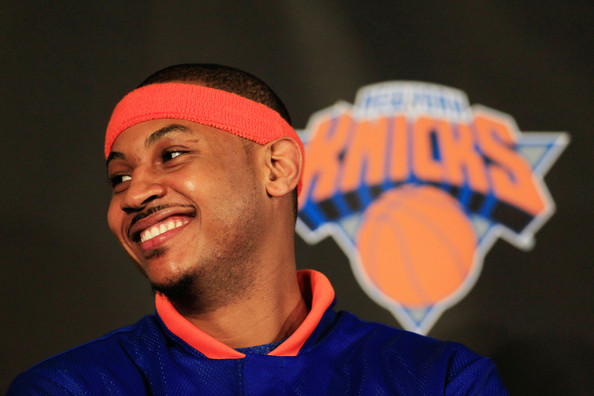 Carmelo Anthony Carmelo Anthony is introduced as a New York Knick player during a press conference at Madison Square Garden on February 23, 2011 in New York City. NOTE TO USER: User expressly acknowledges and agrees that, by downloading and/or using this Photograph, User is consenting to the terms and conditions of the Getty Images License Agreement.