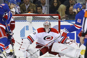 Cam Ward #30 of the Carolina Hurricanes tends net against the New York Rangers at Madison Square Garden on November 29, 2016 in New York City. The Rangers defeated the Hurricanes 2-1.