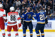 Kyle Brodziak #28 of the St. Louis Blues is congratulated by Alexander Steen #20 of the St. Louis Blues after scoring a goal against the Carolina Hurricanes at Scottrade Center on December 30, 2017 in St. Louis, Missouri.