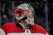 Cam Ward #30 of the Carolina Hurricanes stands on the ice during a break in a game against the Vegas Golden Knights at T-Mobile Arena on December 12, 2017 in Las Vegas, Nevada. The Hurricanes won 3-2 in a shootout.