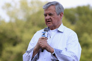 Jerry Richardson, owner of the Carolina Panthers speaks to fans during training camp at Wofford College on August 3, 2011 in Spartanburg, South Carolina.