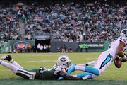 Wide receiver Devin Funchess #17 of the Carolina Panthers failed 2-point conversion against cornerback Morris Claiborne #21 of the New York Jets during the second half of the game at MetLife Stadium on November 26, 2017 in East Rutherford, New Jersey.