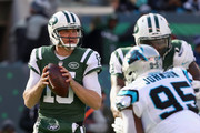 Quarterback Josh McCown #15 of the New York Jets looks to pass against the Carolina Panthers during the first quarter of the game at MetLife Stadium on November 26, 2017 in East Rutherford, New Jersey.