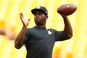 Michael Vick #2 of the Pittsburgh Steelers warms up prior to the preseason game against the Carolina Panthers at Heinz Field on September 3, 2015 in Pittsburgh, Pennsylvania.