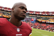 Running back Adrian Peterson #26 of the Washington Redskins looks on after defeating the Carolina Panthers at FedExField on October 14, 2018 in Landover, Maryland.