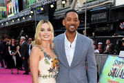 Margot Robbie and Will Smith attend the Suicide Squad European Premiere sponsored by Carrera on August 3, 2016 in London, England.