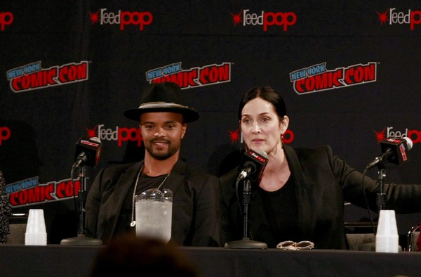 New York Comic Con - Day 1 [tell me a story,event,performance,music,stage,eka darville,carrie-anne moss,l-r,new york city,jacob javits convention center,new york comic con,panel]