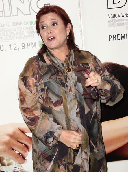 """Premiere Of The HBO Documentary """"Wishful Drinking"""" - Arrivals [premiere of the hbo documentary ``wishful drinking,military camouflage,clothing,camouflage,military uniform,army,military,uniform,design,pattern,soldier,arrivals,carrie fisher,california,hollywood,linwood dunn theater,premiere]"""
